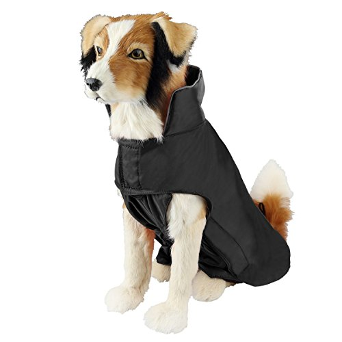 SymbolLife Hundemantel aus 100% Wasserdicht Nylon Fleece Futter Jacke Reflektierende Hundejacke Warm Hundemantel Climate Changer Fleece Jacke einfaches An- und Ausziehen(S Schwarz) Neu